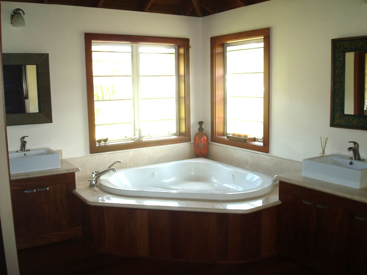 The master bathroom jacuzzi tub & vanities