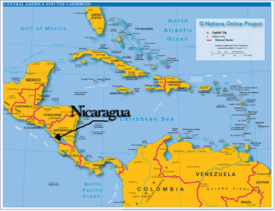 Nicaragua pointed out on a map of Central America
