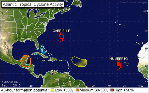 Active Atlantic Hurricanes September 11, 2013